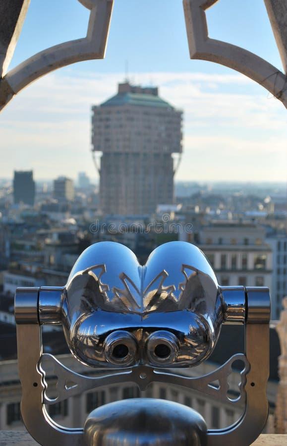 Telescope looking Milan stock image