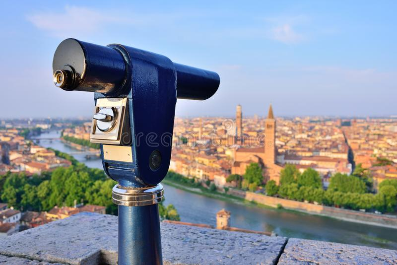 Telescope mounted on top Verona observation deck. View to Verona. Italy stock image