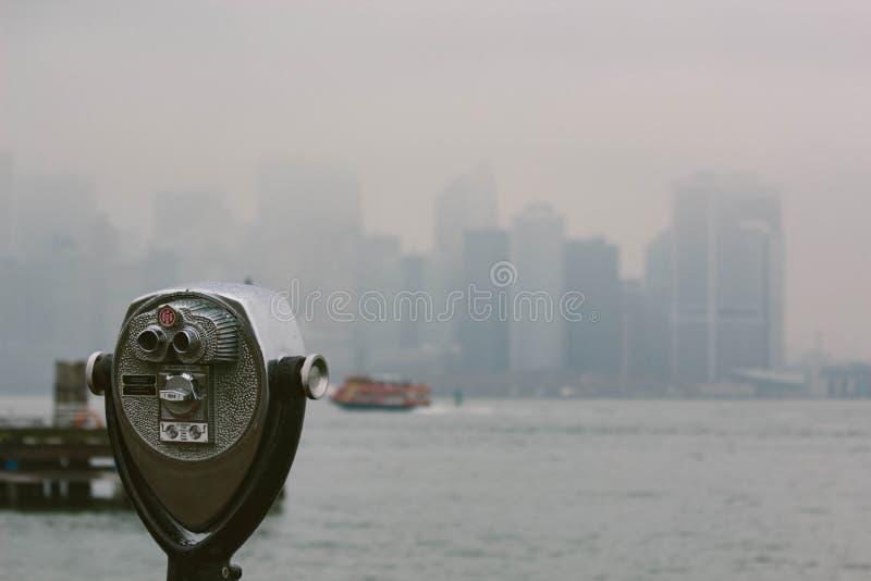 Telescope overlooking New York city stock photo