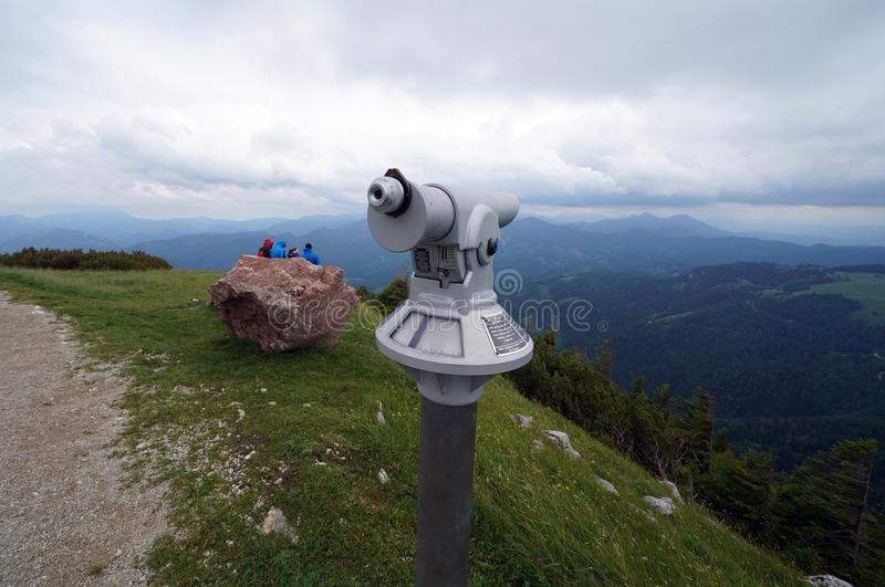 Telescope, rock and view stock image
