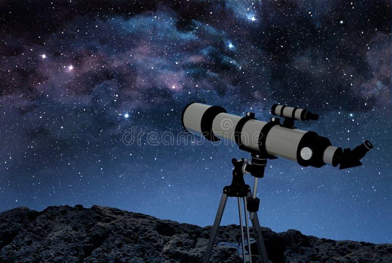 Telescope on rocky ground stock illustration
