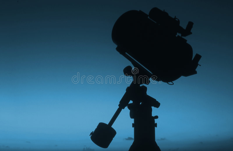 Telescope silhouette at sunrise #2 stock image