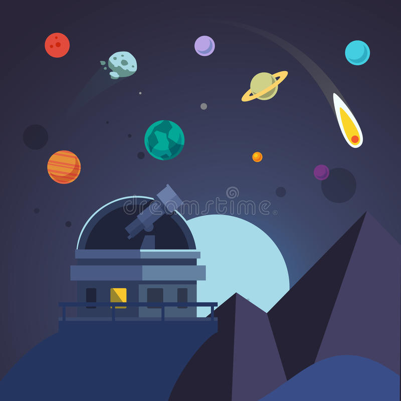 Telescope sits in an open observatory dome. Flat vector illustration royalty free illustration