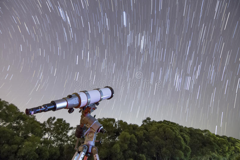 Telescope and Star trail royalty free stock images