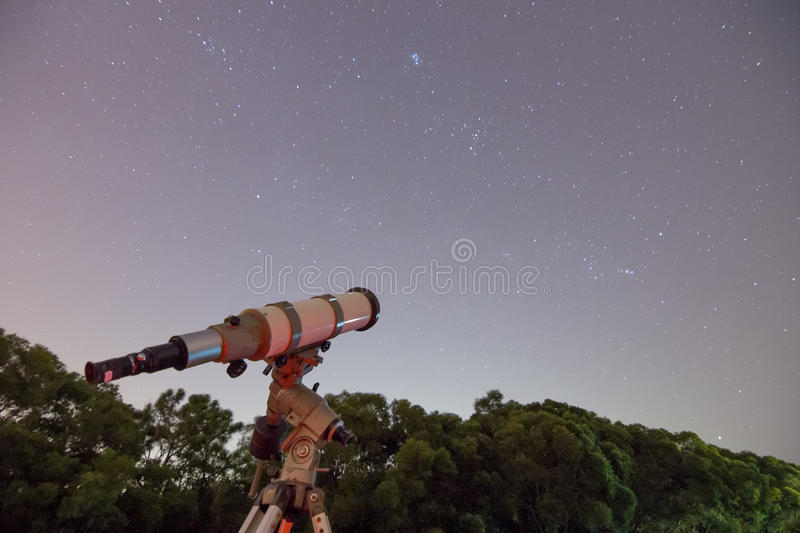 Telescope and Starry Sky royalty free stock image