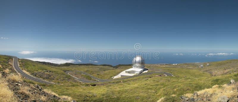 Telescopes in Roque de los Muchachos. La Palma. Spain. Horizontal royalty free stock photos