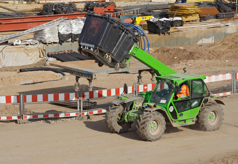 Telescopic handler. On a construction site royalty free stock photo