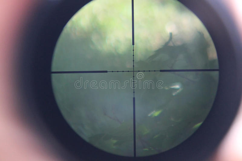 The telescopic sight. Look through the telescopic sight stock image