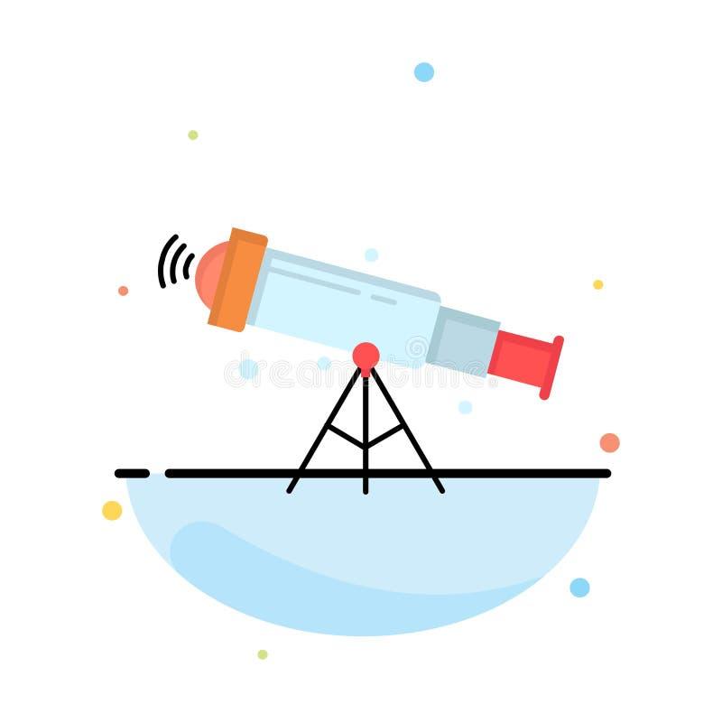 telescopio, astronomía, espacio, visión, vector plano del icono del color del enfoque libre illustration