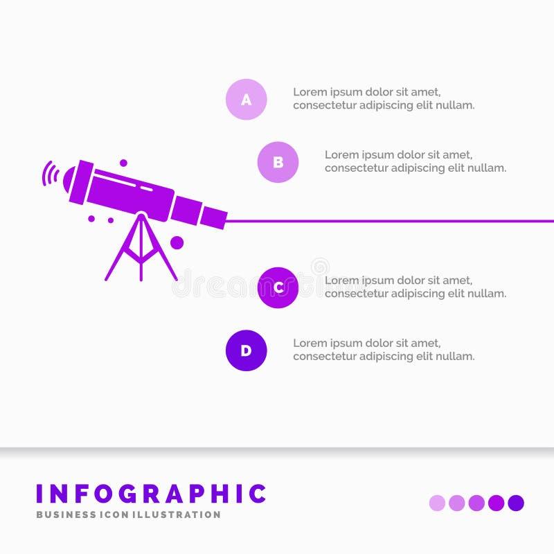telescopio, astronom?a, espacio, visi?n, plantilla de Infographics del enfoque para la p?gina web y presentaci?n Estilo infograph libre illustration