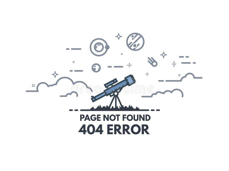 Telescopio che cerca insegna 404 illustrazione di stock