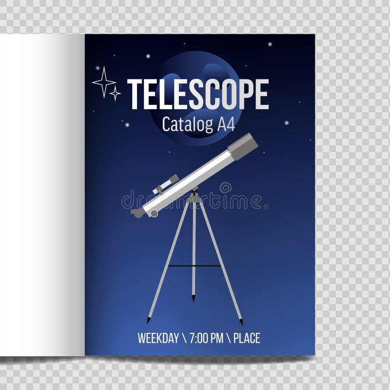 Telescopio con l'icona piana di progettazione del catalogo A4 del cielo notturno illustrazione vettoriale