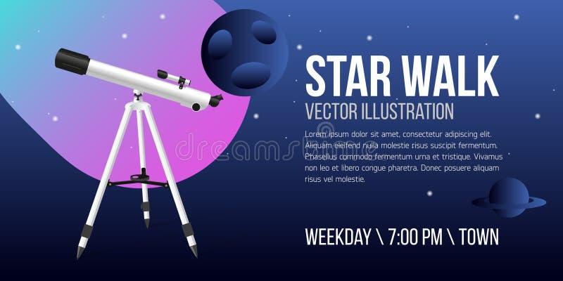 Telescopio con l'icona realistica di progettazione dell'aletta di filatoio del cielo notturno illustrazione vettoriale