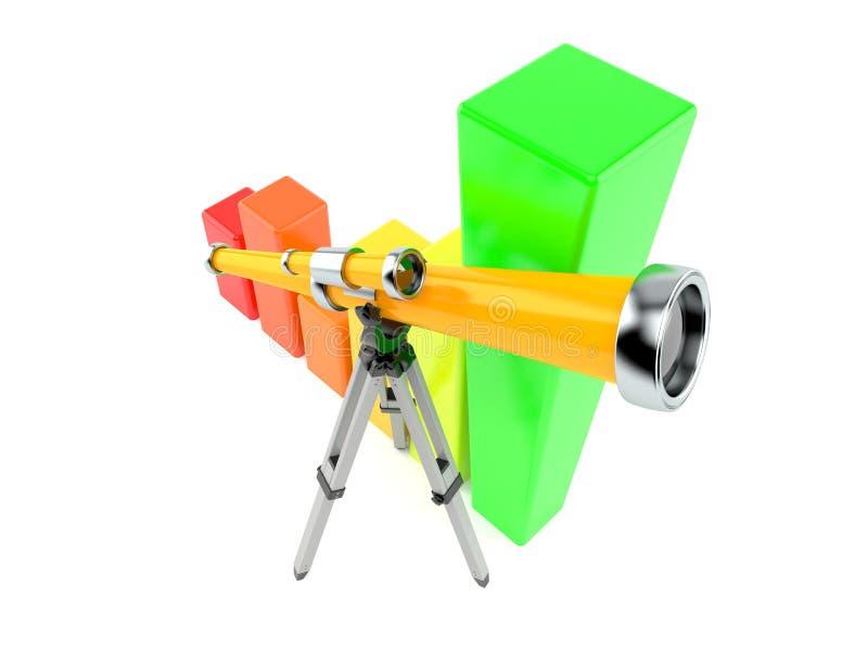 Telescopio con la carta stock de ilustración