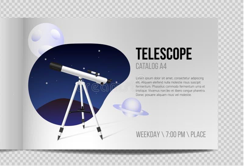 Telescopio con progettazione realistica del catalogo A4 del cielo notturno royalty illustrazione gratis