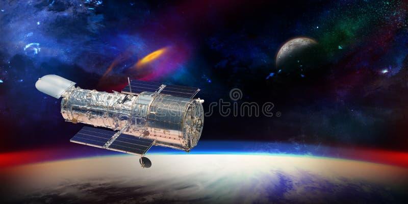 Telescopio de Hubble con las estrellas y las galaxias en la demostración del espacio exterior stock de ilustración