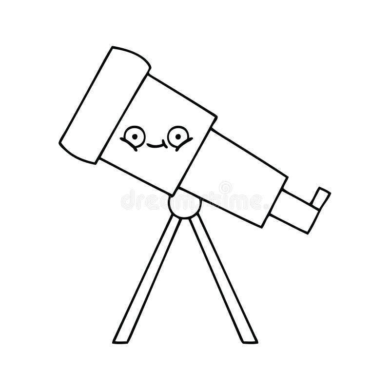 telescopio de la historieta del dibujo lineal stock de ilustración