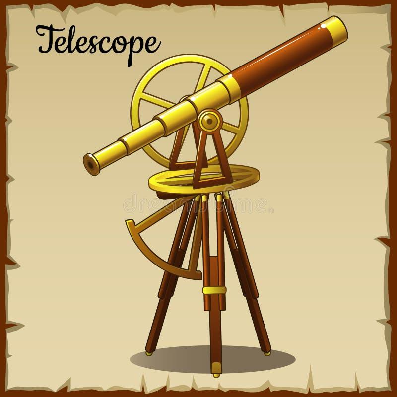 Telescopio de oro viejo que destaca stock de ilustración