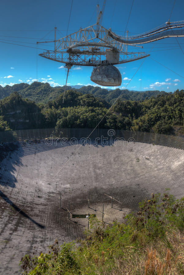Telescopio de radio del observatorio de Arecibo en Puerto Rico fotos de archivo libres de regalías