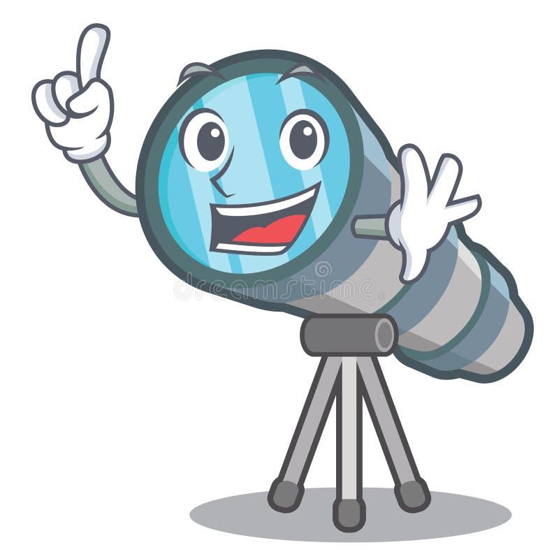 Telescopio del juguete del finger en una silla de la historieta stock de ilustración