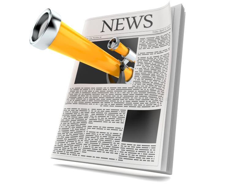 Telescopio dentro il giornale royalty illustrazione gratis