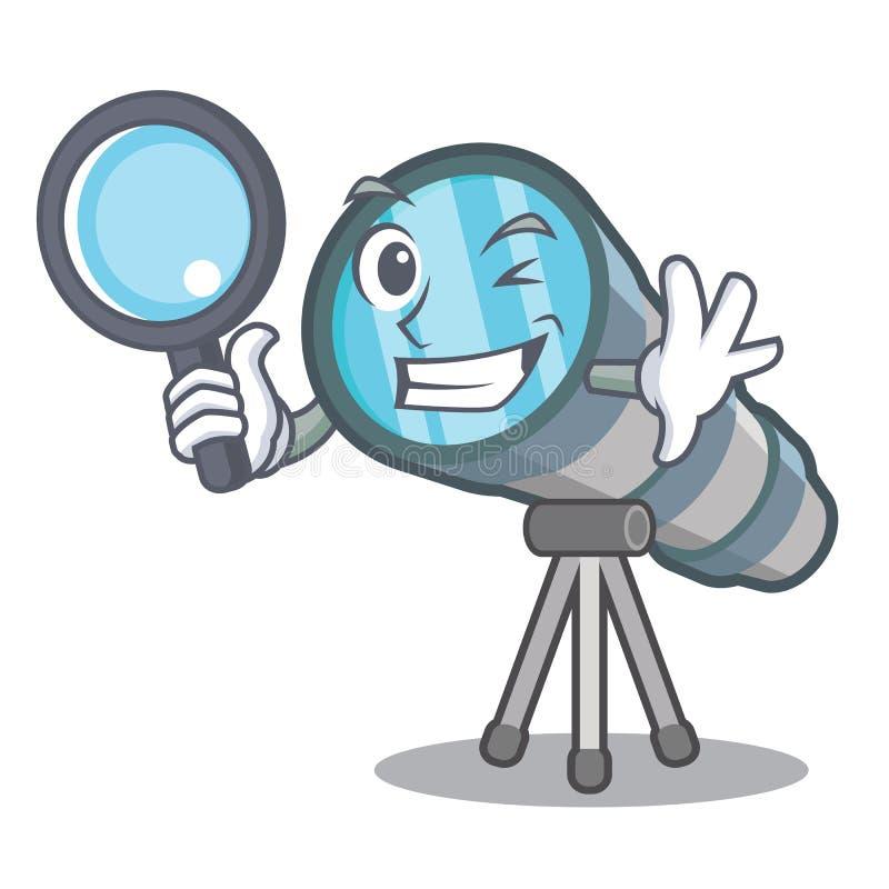 Telescopio detective de la historieta en el almacén del juguete ilustración del vector