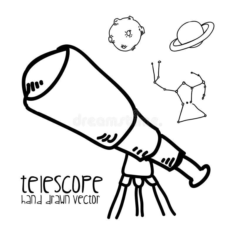 Telescopio dibujado ilustración del vector