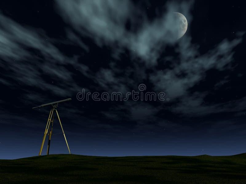 Telescopio en la noche ilustración del vector