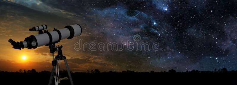 Telescopio en puesta del sol stock de ilustración
