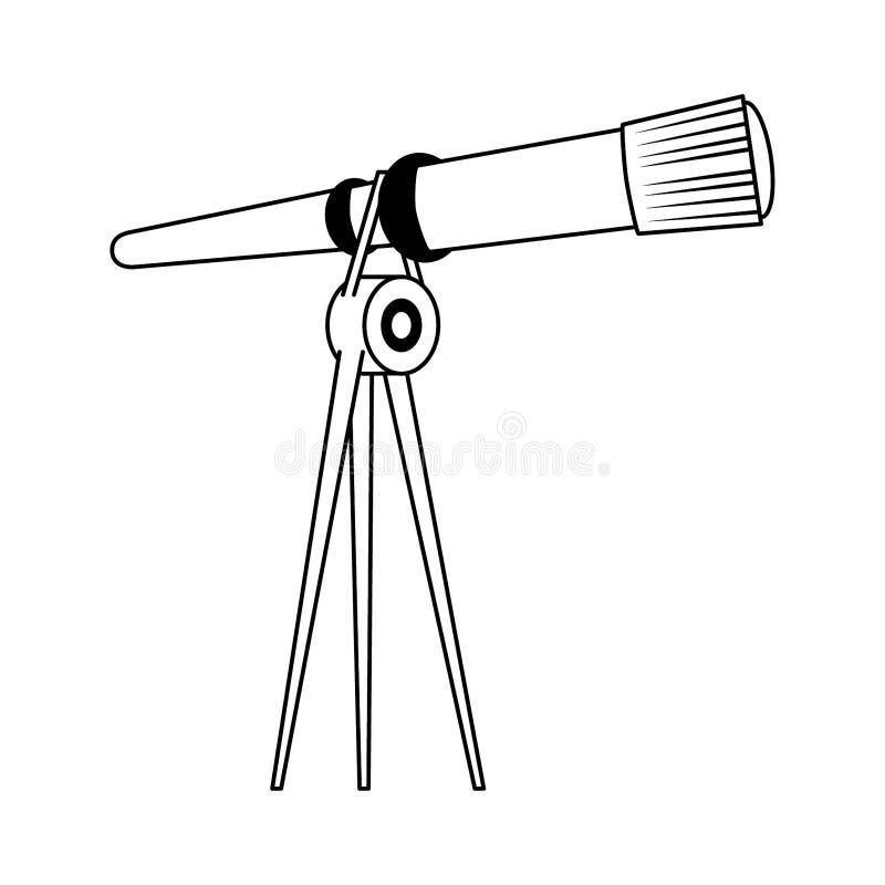 Telescopio en símbolo del trípode aislado en blanco y negro ilustración del vector