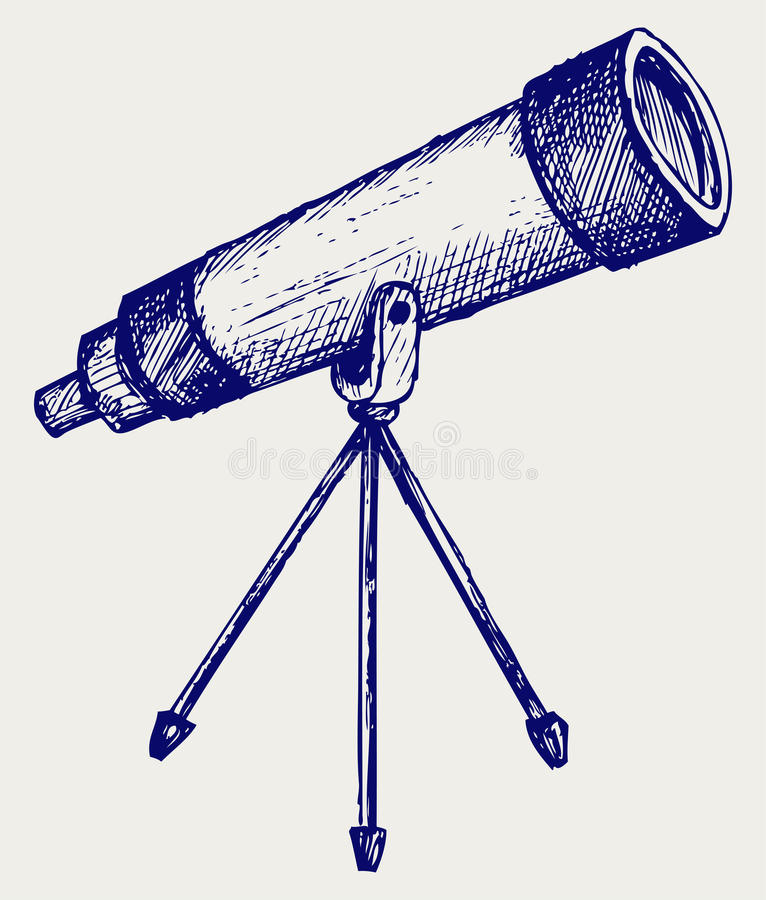 Telescopio en trípode stock de ilustración