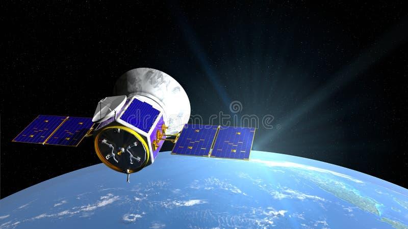 Telescopio espacial del TESS de Transiting Exoplanet Survey Satellite en la órbita de la tierra del planeta con la luna en fondo stock de ilustración