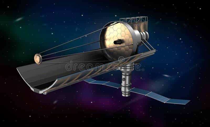 Telescopio espacial en órbita. imagen 3d ilustración del vector
