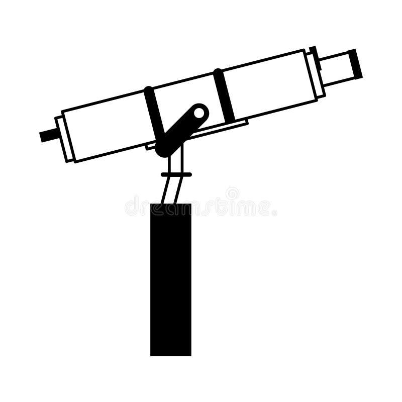 Telescopio espacial en símbolo del plataform aislado en blanco y negro libre illustration