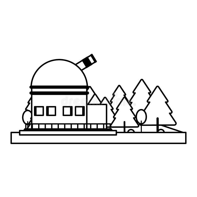 Telescopio espacial grande en símbolo bajo aislado en blanco y negro libre illustration
