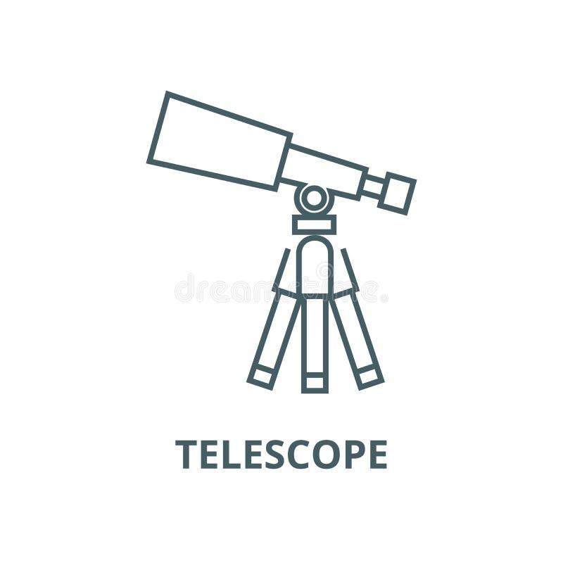 Telescopio, línea icono, concepto linear, muestra del esquema, símbolo del vector del alcance stock de ilustración