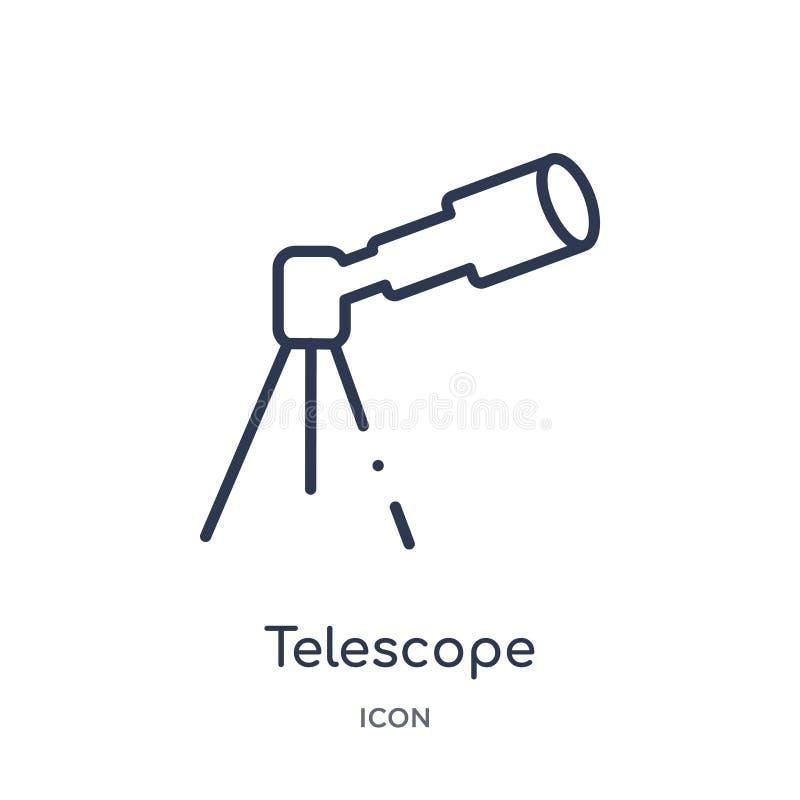 Telescopio linear que señala encima de icono de la colección del esquema de la astronomía Línea fina telescopio que señala encima ilustración del vector