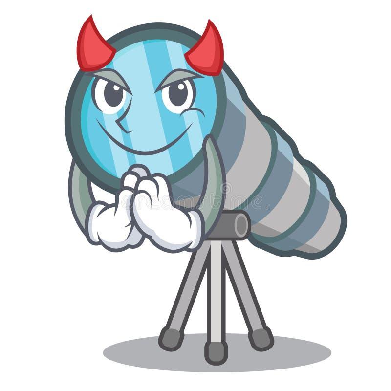 Telescopio miniatura del diablo sobre la tabla del carácter ilustración del vector