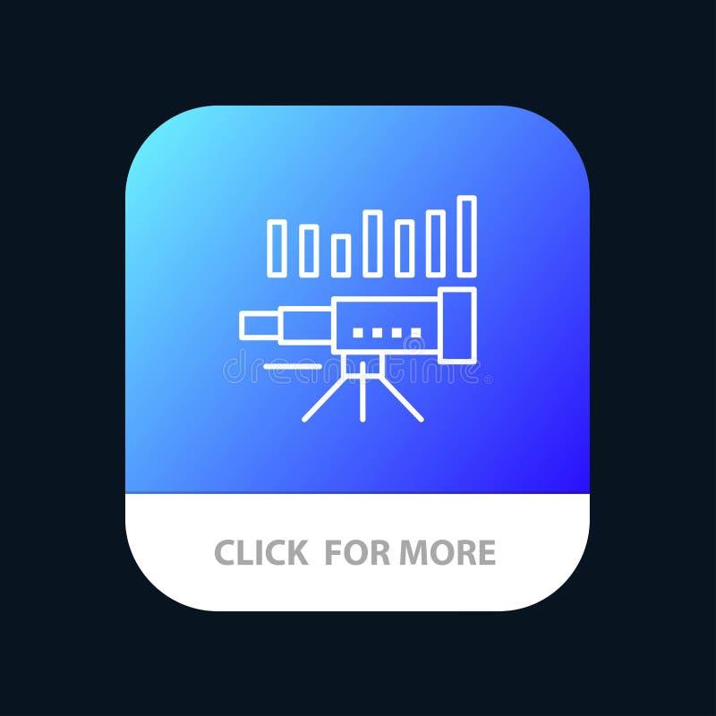 Telescopio, negocio, pronóstico, pronóstico, mercado, tendencia, botón móvil del App de Vision Android y línea versión del IOS ilustración del vector