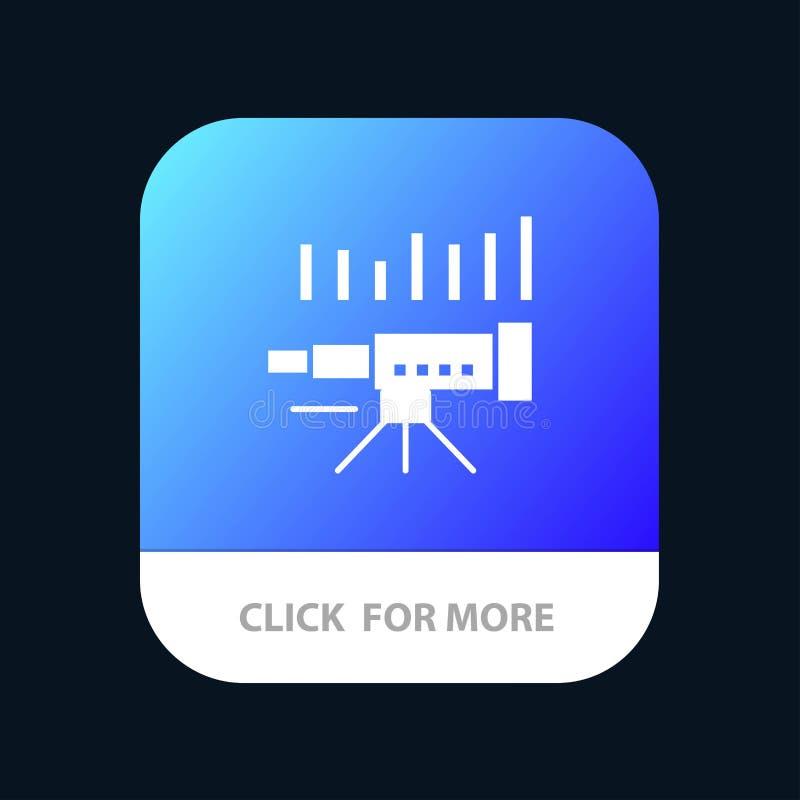Telescopio, negocio, pronóstico, pronóstico, mercado, tendencia, botón móvil del App de Vision Android y versión del Glyph del IO ilustración del vector