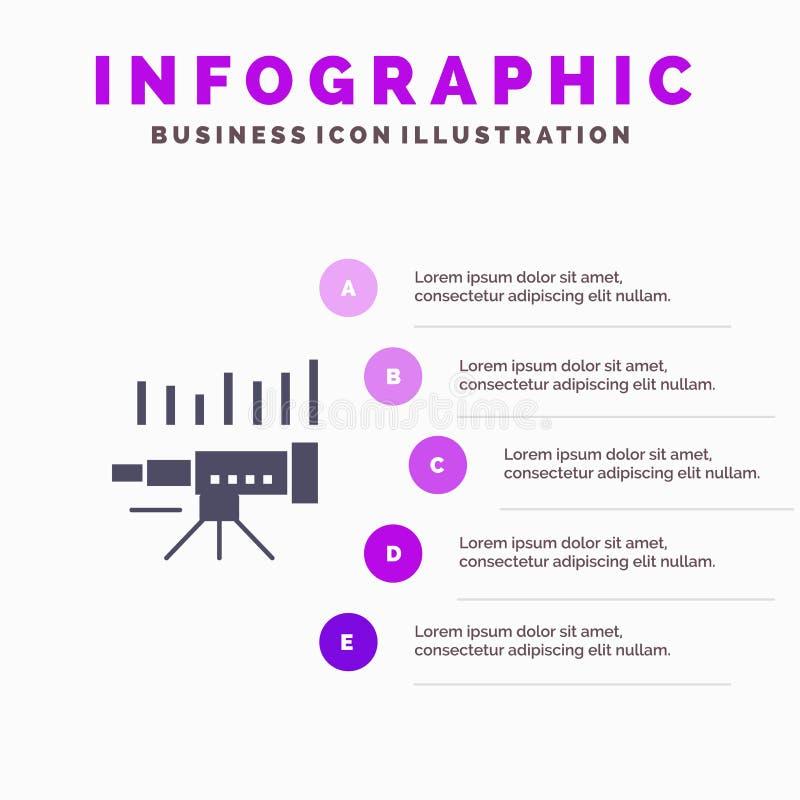 Telescopio, negocio, pronóstico, pronóstico, mercado, tendencia, fondo sólido de la presentación de los pasos de Infographics 5 d ilustración del vector