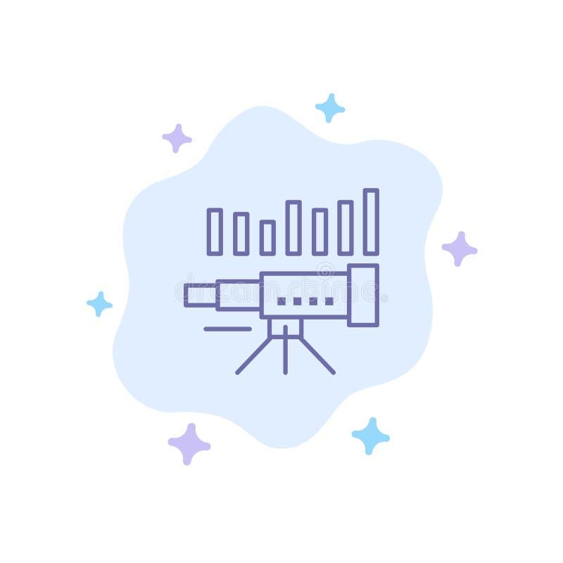 Telescopio, negocio, pronóstico, pronóstico, mercado, tendencia, icono azul de Vision en fondo abstracto de la nube ilustración del vector
