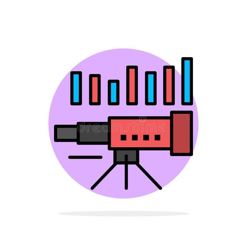 Telescopio, negocio, pronóstico, pronóstico, mercado, tendencia, icono plano del color de fondo abstracto del círculo de Vision stock de ilustración