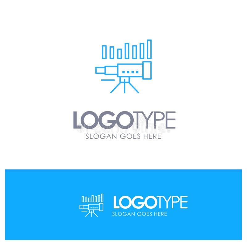 Telescopio, negocio, pronóstico, pronóstico, mercado, tendencia, logotipo azul del esquema de Vision con el lugar para el tagline ilustración del vector