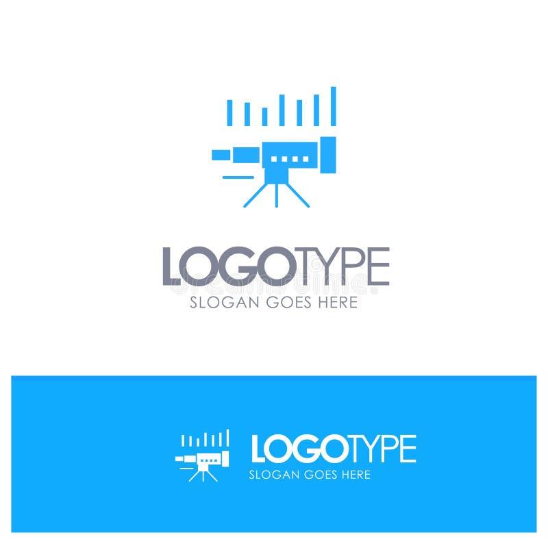 Telescopio, negocio, pronóstico, pronóstico, mercado, tendencia, logotipo sólido azul de Vision con el lugar para el tagline libre illustration