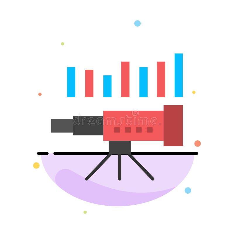 Telescopio, negocio, pronóstico, pronóstico, mercado, tendencia, plantilla plana del icono del color del extracto de Vision stock de ilustración