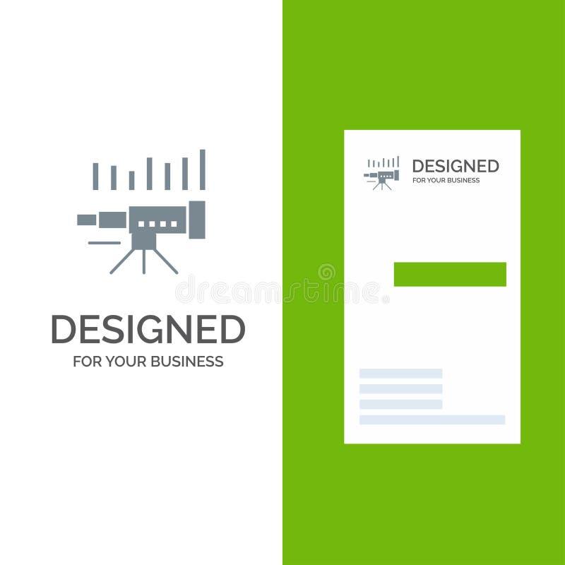 Telescopio, negocio, pronóstico, pronóstico, mercado, tendencia, Vision Grey Logo Design y plantilla de la tarjeta de visita stock de ilustración