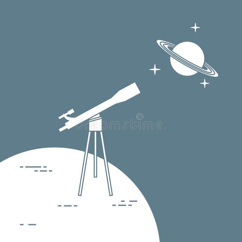 Telescopio, planeta Saturn con los anillos astronom?a stock de ilustración
