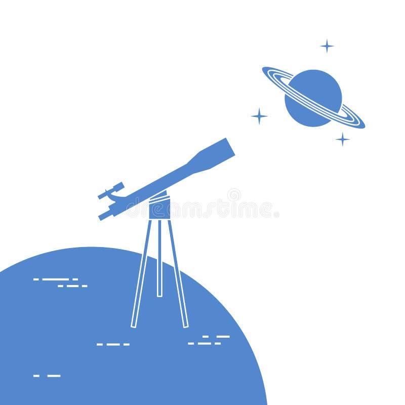 Telescopio, planeta Saturn con los anillos astronom?a ilustración del vector