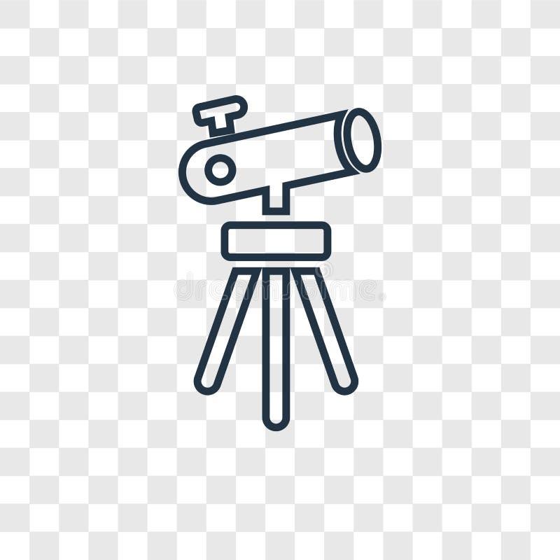 Telescopio que señala encima del icono linear del vector del concepto aislado en tra ilustración del vector
